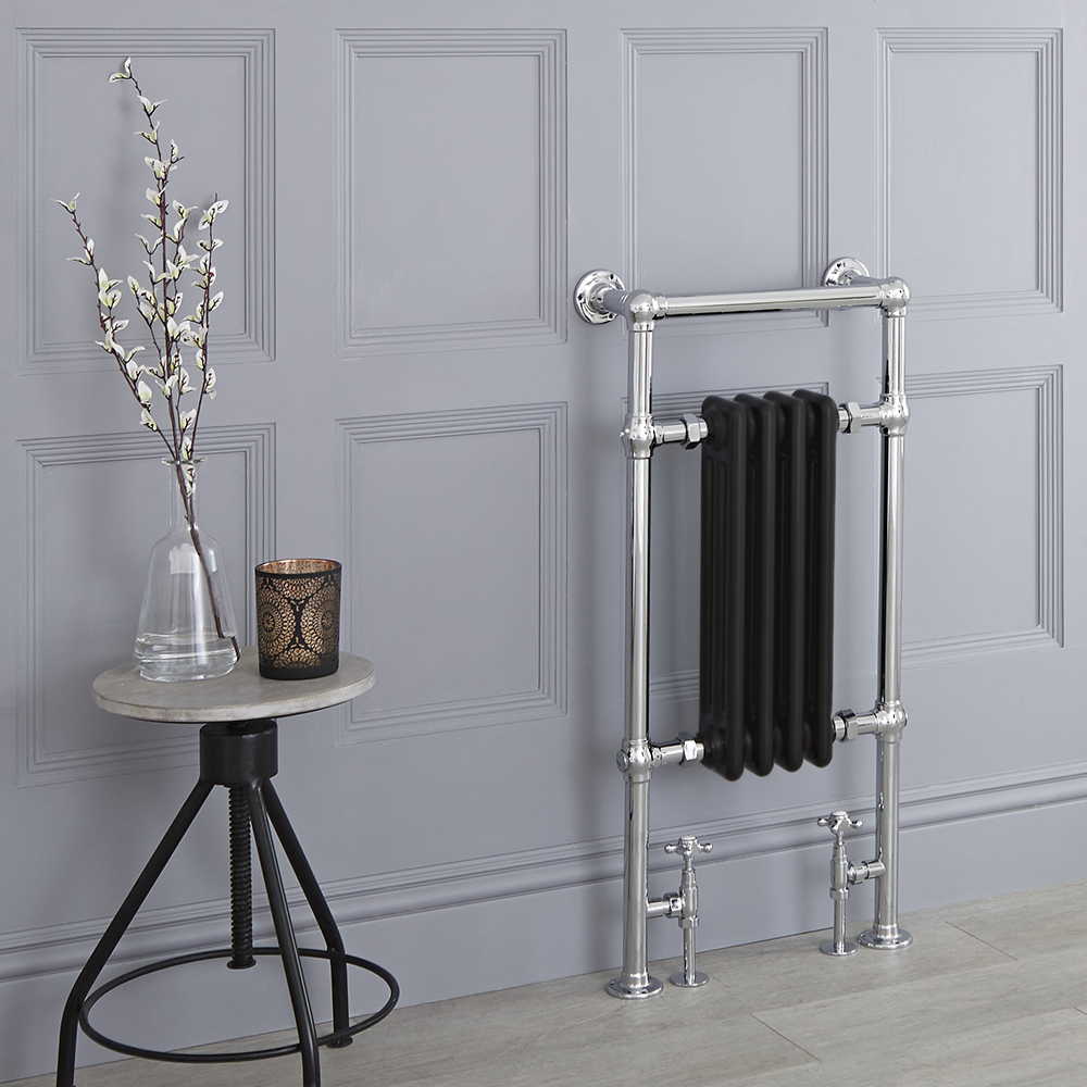 Sèche-serviettes rétro - Noir - 93cm x 45cm x 15,5cm - Elizabeth