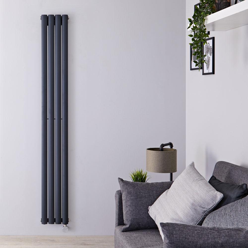 Radiateur design électrique vertical - Anthracite - 178cm x 23,6cm x 5,6cm - Vitality
