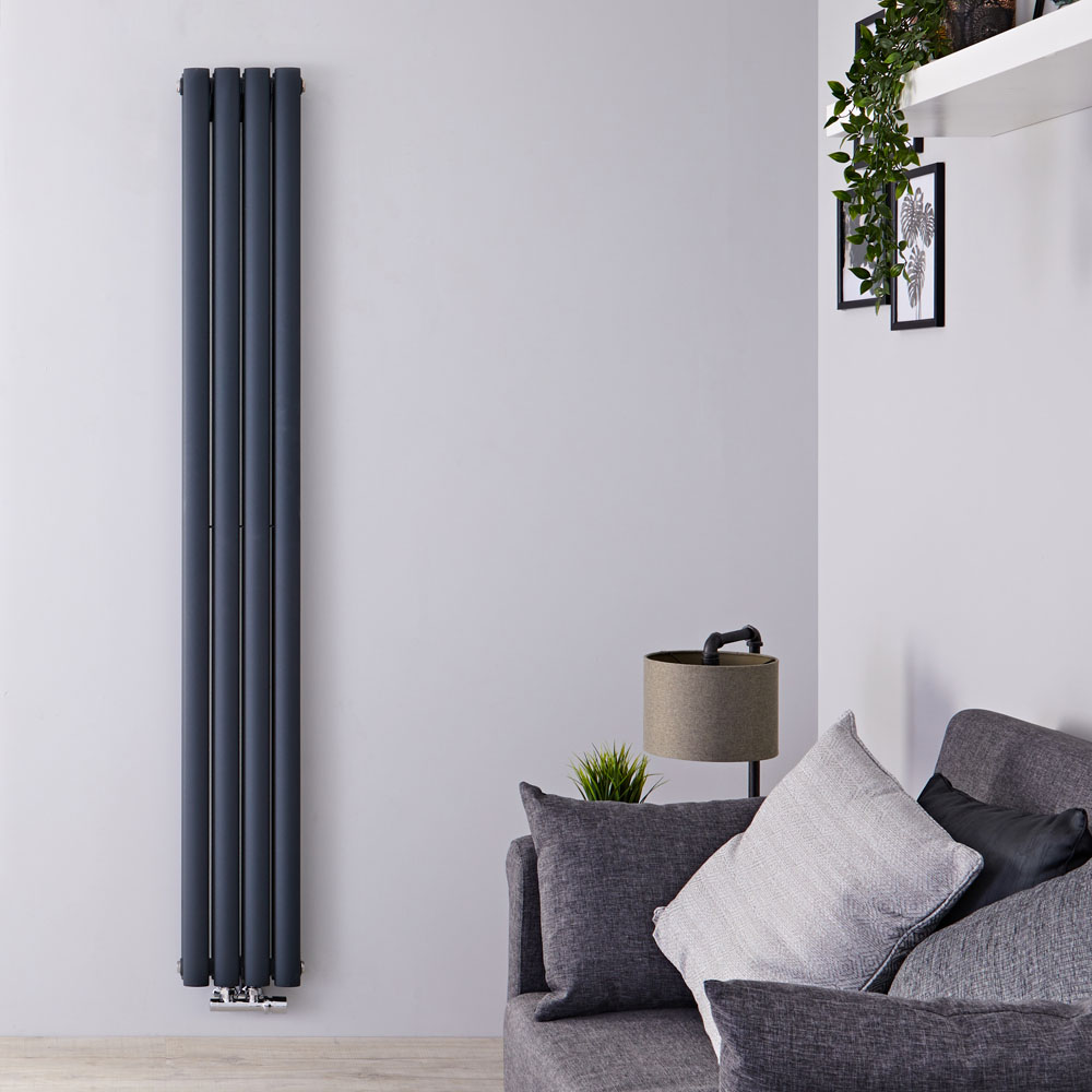 Radiateur Design Vertical Raccordement Central Anthracite Vitality Caldae 178cm x 23,6cm x 7,8cm 866 Watts