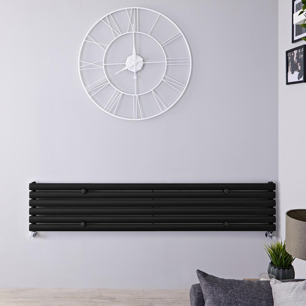 Radiateur Design Horizontal Noir Vitality 35,4cm x 178cm x 5,6cm 888 Watts