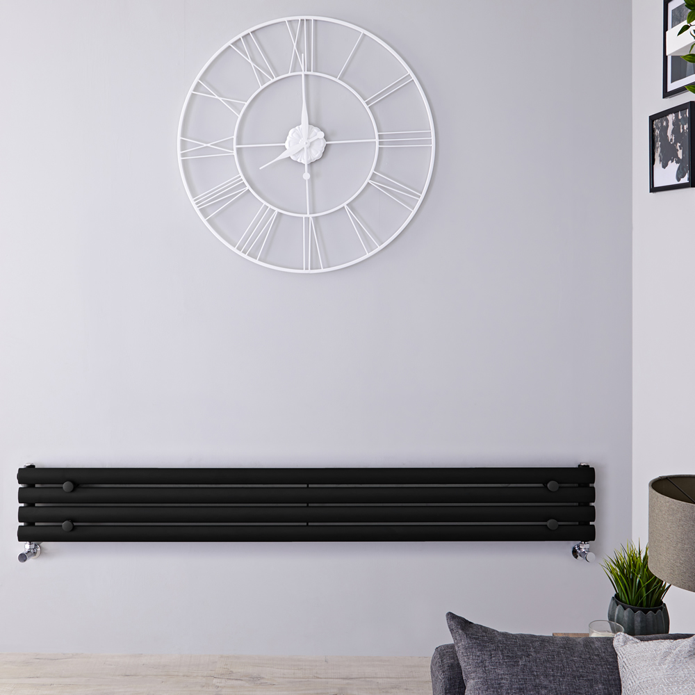 Radiateur Design Horizontal Noir Vitality 23,6cm x 178cm x 5,6cm 647 Watts