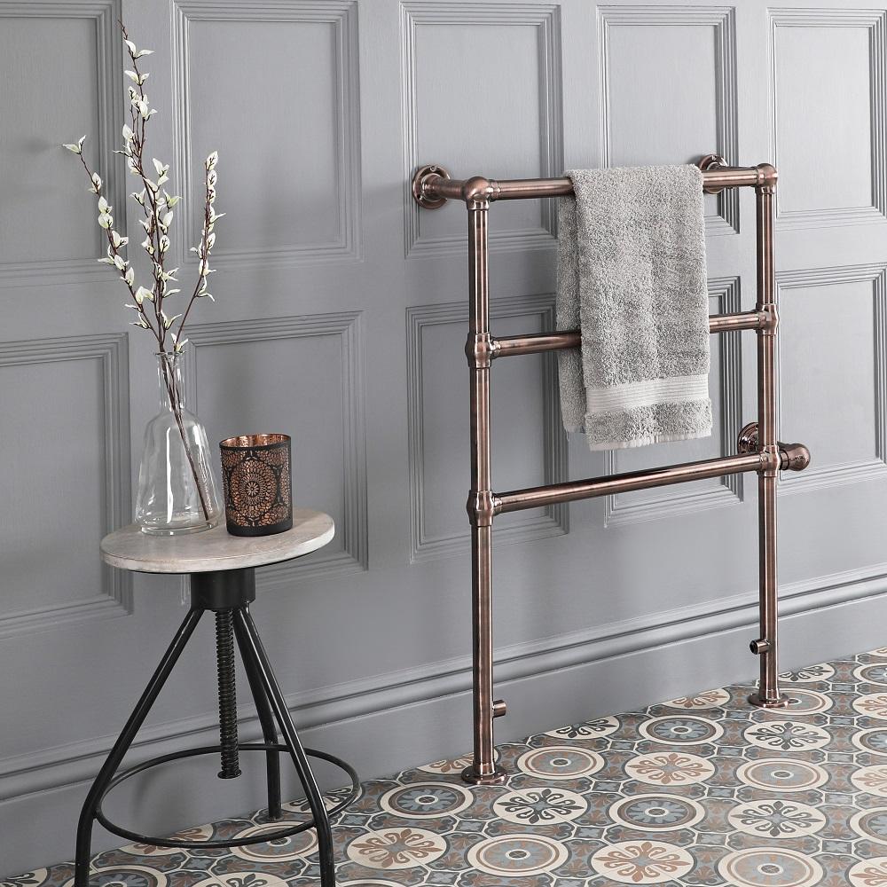Sèche-serviettes électrique rétro – 93 cm x 63,2 cm – Bronze huilé – Condesa