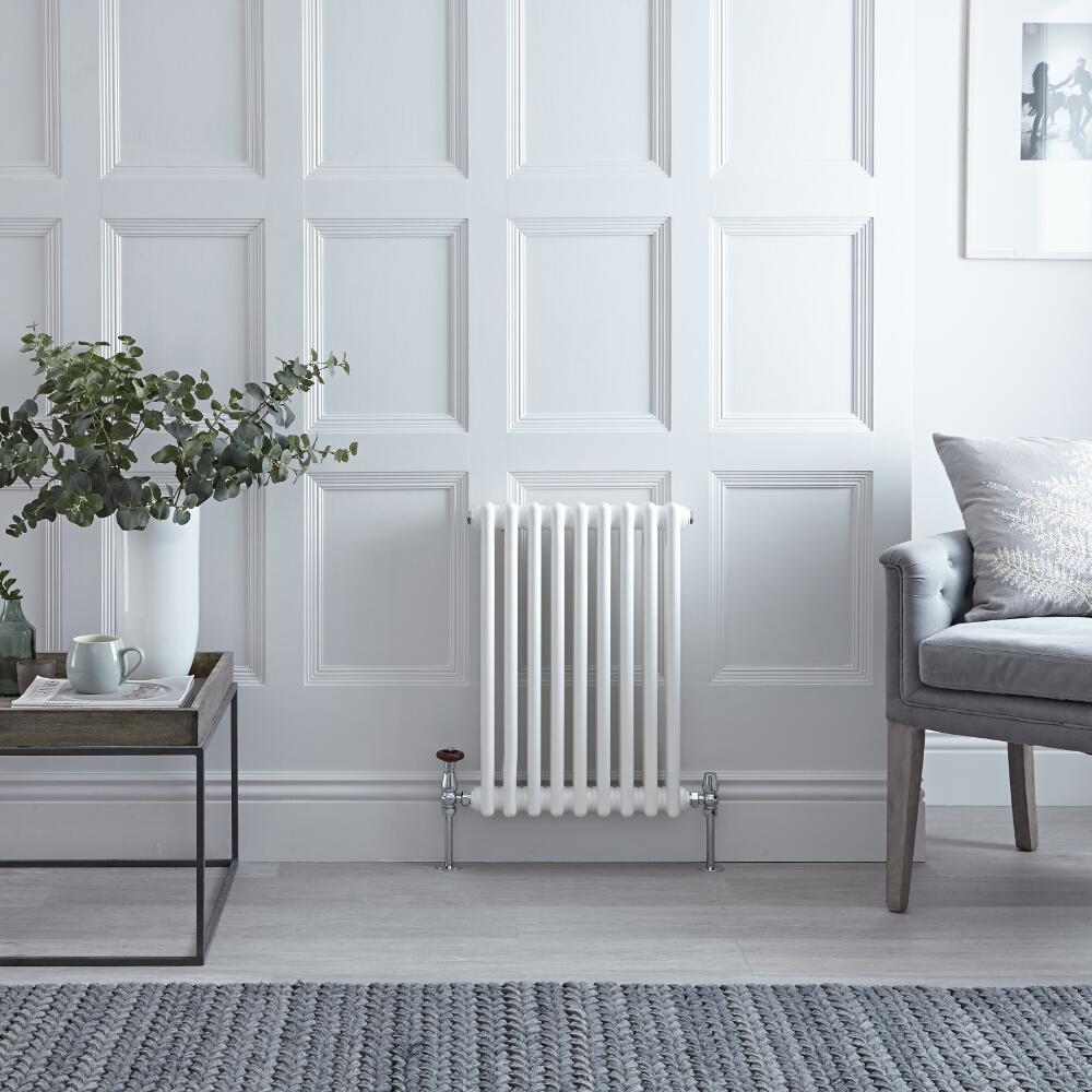 Radiateur Horizontal Style Fonte Blanc Windsor 60cm x 42,5cm x 6,6cm 568 Watts