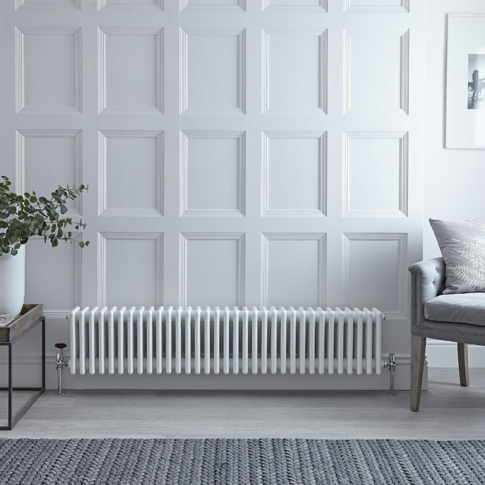 Radiateur Horizontal Style Fonte Blanc Windsor 30cm x 150,5cm x 13,3cm 1793 Watts