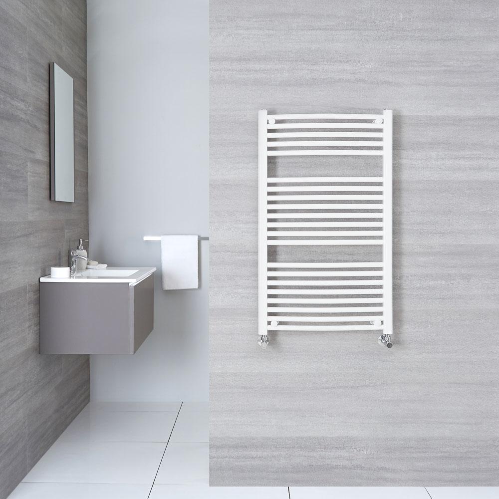 Hudson Reed Sèche-Serviettes Incurvé Blanc Etna 100cm x 60cm x 5,2cm 740 Watts