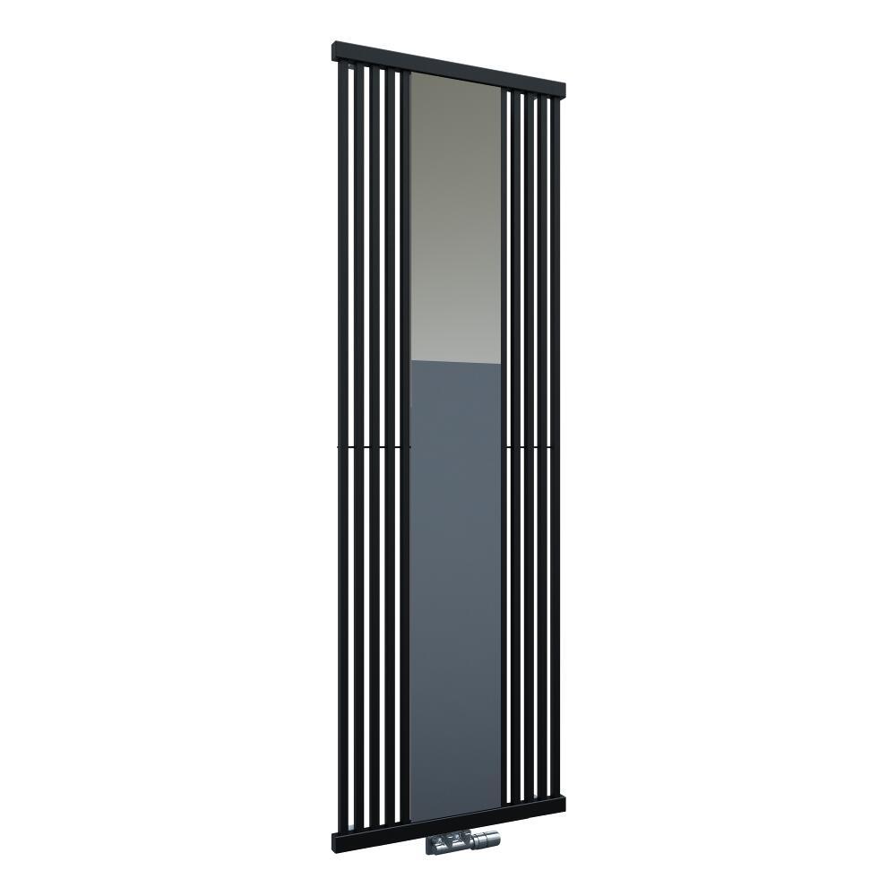 Lublin - Radiateur Vertical Design Noir Avec Miroir 190cm x 64cm