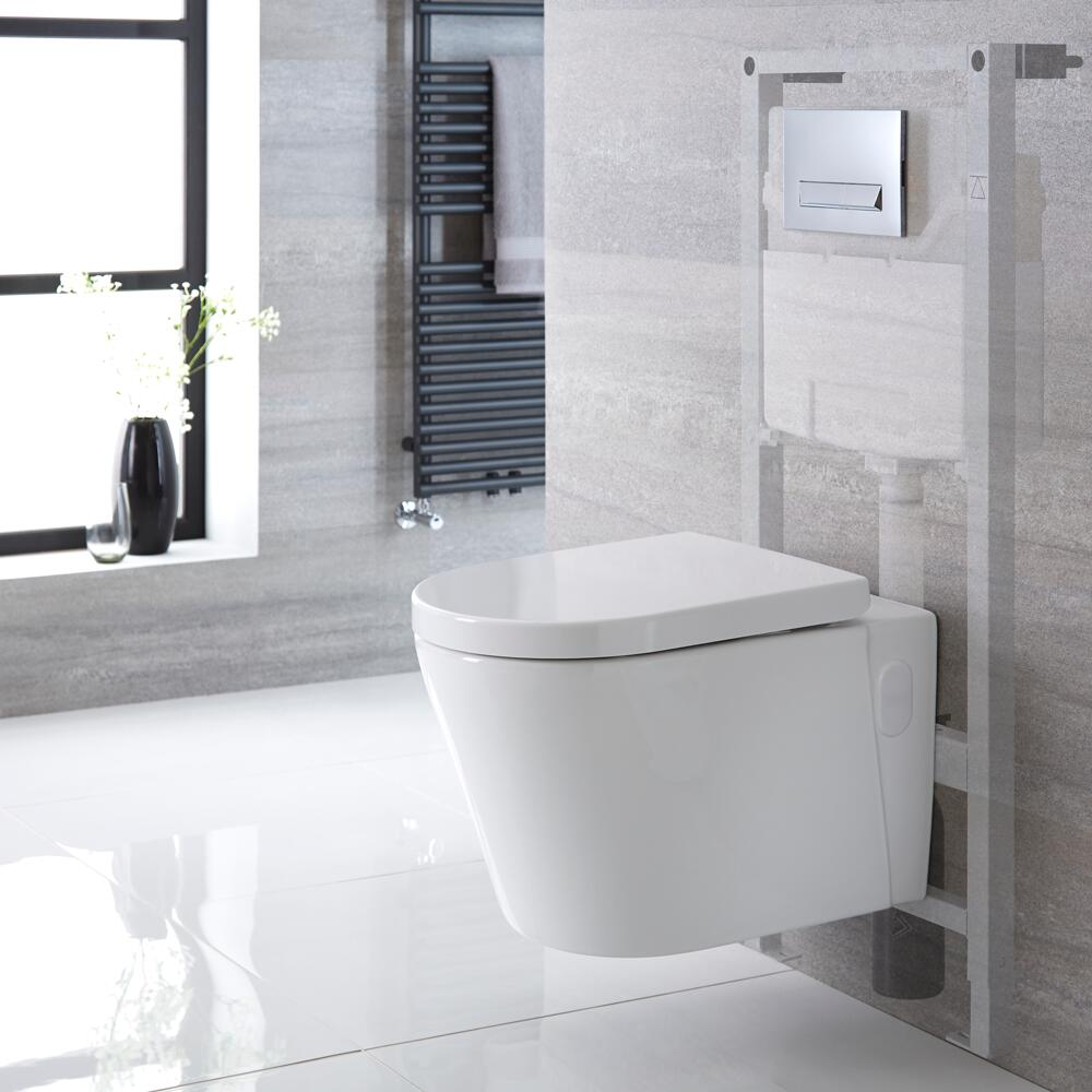 Pack WC Suspendu Exton - Bâti-support 115x50x18cm & Plaque de Déclenchement au Choix