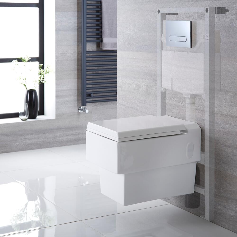 Pack WC Suspendu Haldon - Bâti-support 115x50x18cm & Plaque de Déclenchement - Choix parmi 4 Modèles