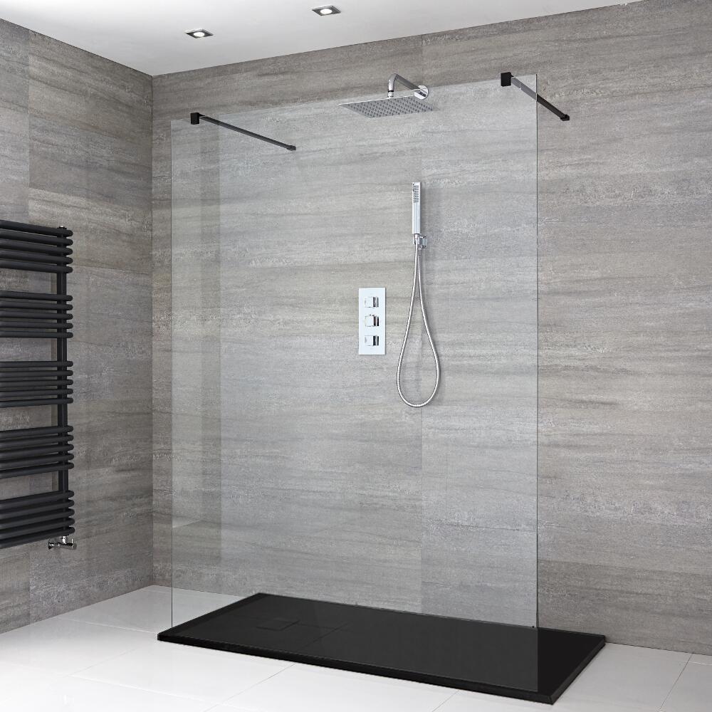 douche italienne avec receveur de douche à effet texturé
