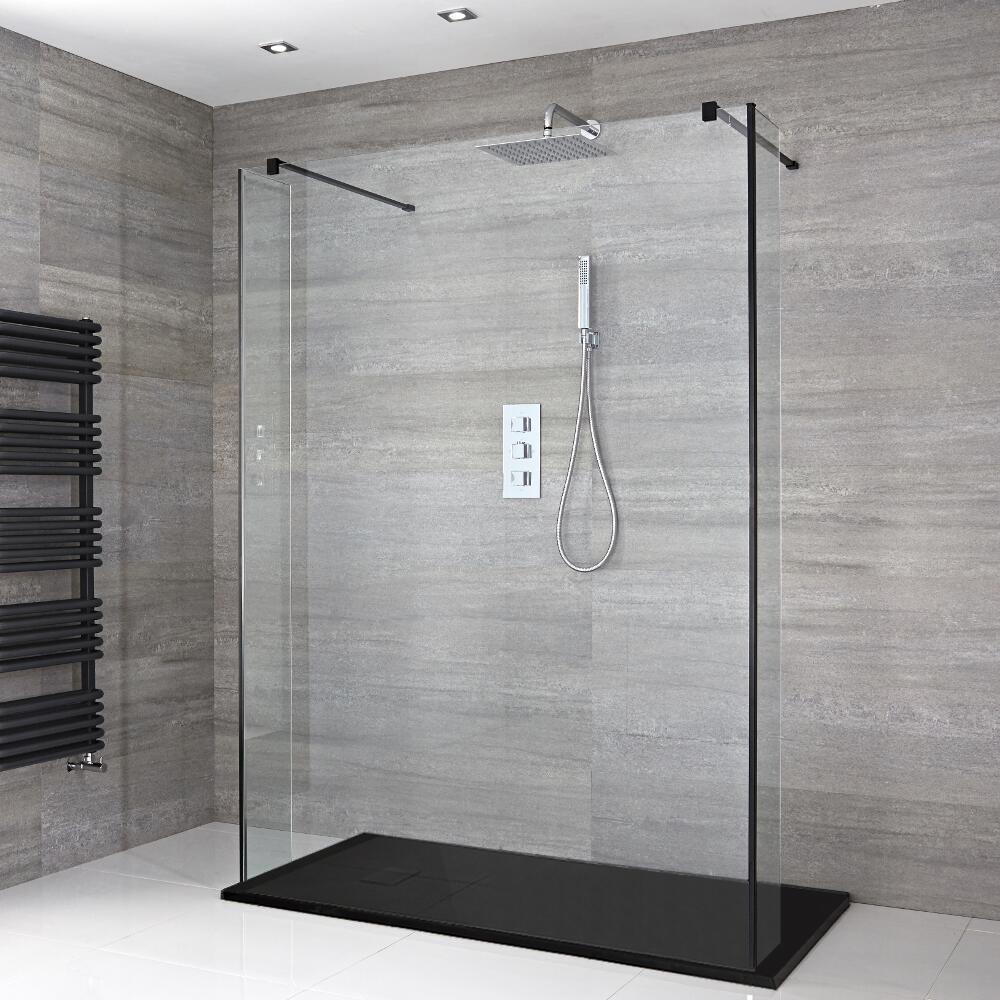 Douche italienne en îlot avec receveur de douche et parois de retour – Multiples tailles disponibles – Nox