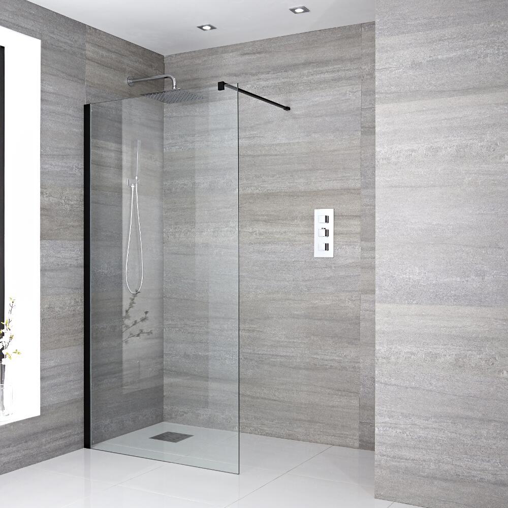 paroi de douche profil noir 100x195cm choix de caniveau. Black Bedroom Furniture Sets. Home Design Ideas