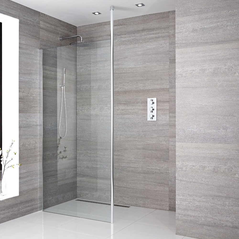 Paroi de douche 140x195cm avec bras stabilisateur recoupable & Choix de Caniveau de Douche Sera