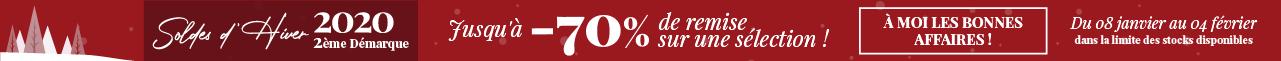 Soldes d'Hiver 2020 - 2ème Démarque Jusqu'à -70% de remise sur une sélection ! À moi les bonnes affaires ! Du 08 janvier au 04 février - dans la limite des stocks disponibles